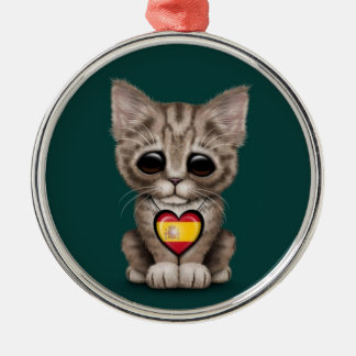 Cute Kitten Cat with Spanish Flag Heart teal Christmas Tree Ornaments