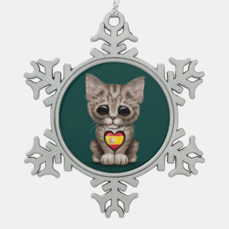 Cute Kitten Cat with Spanish Flag Heart teal Ornaments