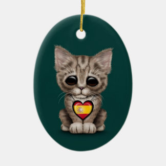 Cute Kitten Cat with Spanish Flag Heart teal Christmas Tree Ornament
