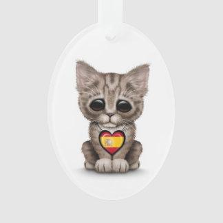 Cute Kitten Cat with Spanish Flag Heart white