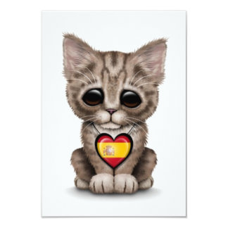 Cute Kitten Cat with Spanish Flag Heart, white Personalized Invite
