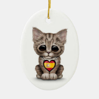 Cute Kitten Cat with Spanish Flag Heart white Ornaments