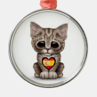 Cute Kitten Cat with Spanish Flag Heart white Christmas Tree Ornament