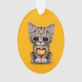 Cute Kitten Cat with Spanish Flag Heart yellow