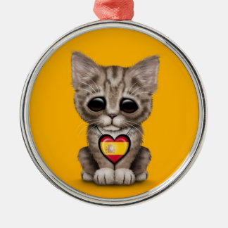 Cute Kitten Cat with Spanish Flag Heart yellow Ornament