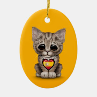 Cute Kitten Cat with Spanish Flag Heart, yellow Ornaments