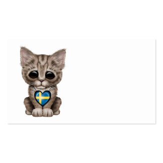 Cute Kitten Cat with Swedish Flag Heart Business Card