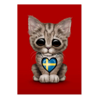 Cute Kitten Cat with Swedish Flag Heart, red Large Business Card