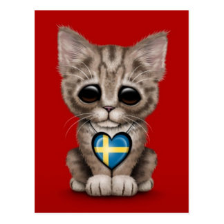 Cute Kitten Cat with Swedish Flag Heart, red Postcard