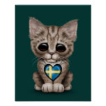 Cute Kitten Cat with Swedish Flag Heart, teal Poster