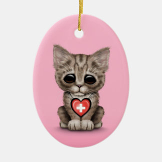 Cute Kitten Cat with Swiss Flag Heart, pink Double-Sided Oval Ceramic Christmas Ornament