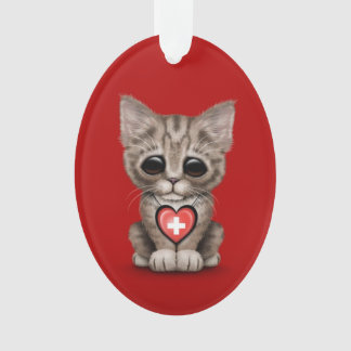 Cute Kitten Cat with Swiss Flag Heart, red