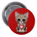 Cute Kitten Cat with Swiss Flag Heart, red Pinback Button