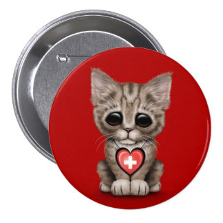 Cute Kitten Cat with Swiss Flag Heart, red Pinback Button