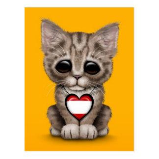 Cute Kitten Cat with Tahitian Flag Heart, yellow Postcard
