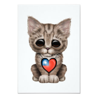 Cute Kitten Cat with Taiwanese Flag Heart 3.5x5 Paper Invitation Card