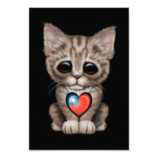 Cute Kitten Cat with Taiwanese Flag Heart, black 3.5x5 Paper Invitation Card