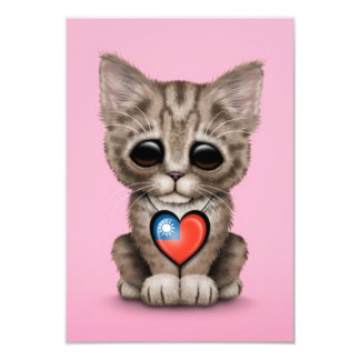 Cute Kitten Cat with Taiwanese Flag Heart, pink 3.5x5 Paper Invitation Card