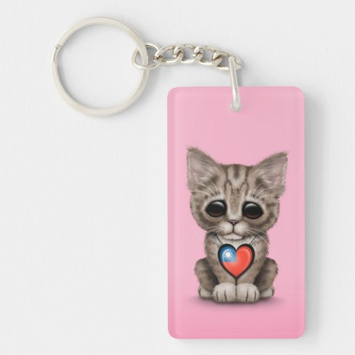 Cute Kitten Cat with Taiwanese Flag Heart, pink Rectangle Acrylic Keychains