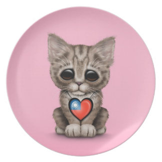 Cute Kitten Cat with Taiwanese Flag Heart, pink Melamine Plate
