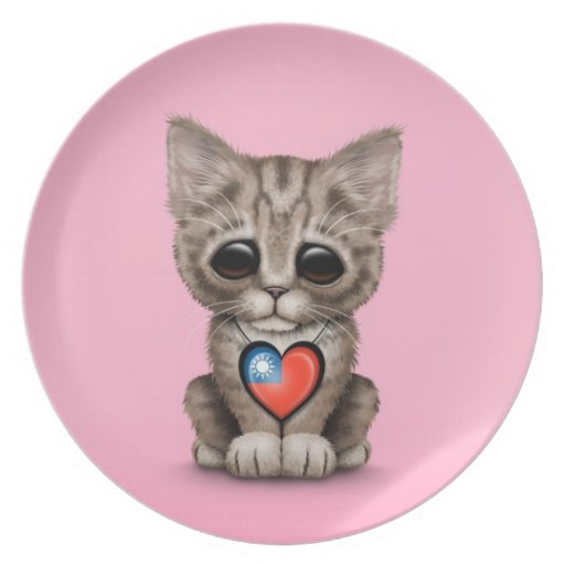 Cute Kitten Cat with Taiwanese Flag Heart, pink Party Plate