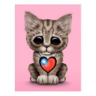 Cute Kitten Cat with Taiwanese Flag Heart, pink Postcard