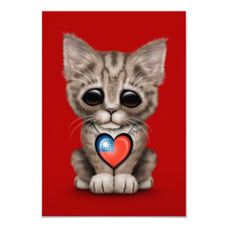 Cute Kitten Cat with Taiwanese Flag Heart, red 3.5x5 Paper Invitation Card