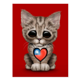 Cute Kitten Cat with Taiwanese Flag Heart, red Postcard