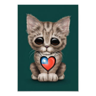 Cute Kitten Cat with Taiwanese Flag Heart, teal 3.5x5 Paper Invitation Card