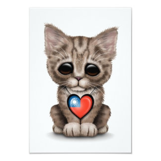 Cute Kitten Cat with Taiwanese Flag Heart, white 3.5x5 Paper Invitation Card
