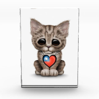 Cute Kitten Cat with Taiwanese Flag Heart, white Acrylic Award
