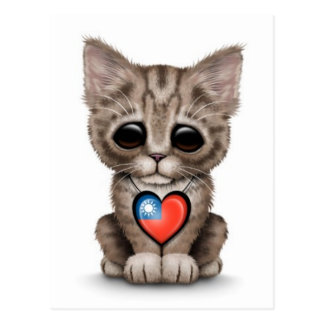 Cute Kitten Cat with Taiwanese Flag Heart, white Postcard