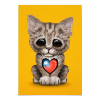 Cute Kitten Cat with Taiwanese Flag Heart, yellow 3.5x5 Paper Invitation Card
