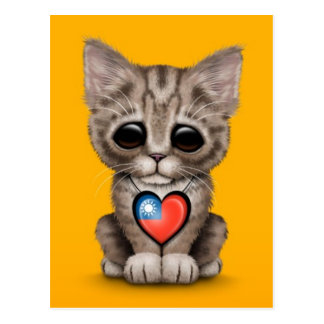 Cute Kitten Cat with Taiwanese Flag Heart, yellow Postcard