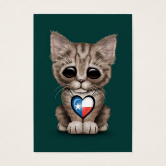 Cute Kitten Cat with Texas Flag Heart, teal Large Business Card