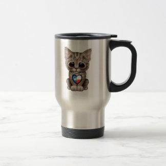 Cute Kitten Cat with Texas Flag Heart Travel Mug