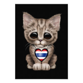Cute Kitten Cat with Thai Flag Heart black Personalized Invitations