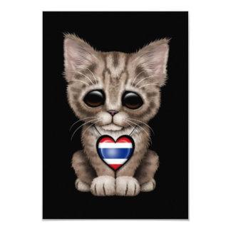 """Cute Kitten Cat with Thai Flag Heart, black 3.5"""" X 5"""" Invitation Card"""