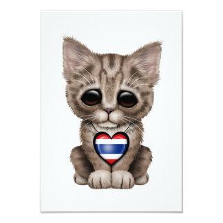 """Cute Kitten Cat with Thai Flag Heart 3.5"""" X 5"""" Invitation Card"""