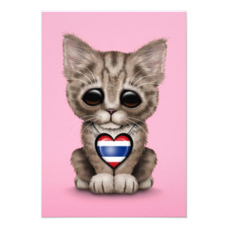 Cute Kitten Cat with Thai Flag Heart pink Personalized Invitation