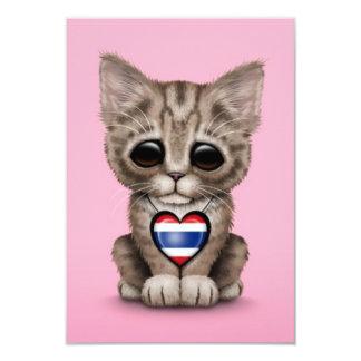 "Cute Kitten Cat with Thai Flag Heart, pink 3.5"" X 5"" Invitation Card"