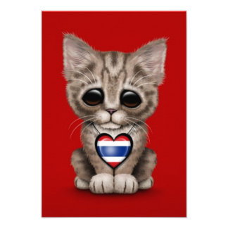 Cute Kitten Cat with Thai Flag Heart red Personalized Announcements
