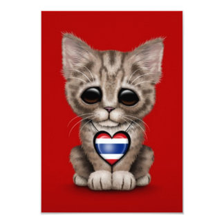 "Cute Kitten Cat with Thai Flag Heart, red 3.5"" X 5"" Invitation Card"