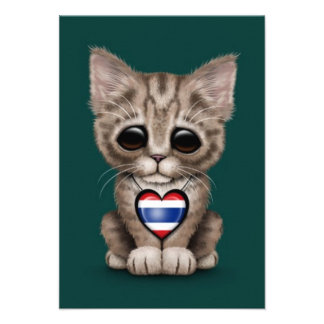 Cute Kitten Cat with Thai Flag Heart teal Invite