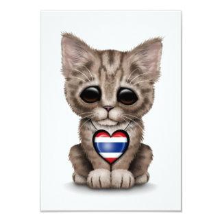"""Cute Kitten Cat with Thai Flag Heart, white 3.5"""" X 5"""" Invitation Card"""