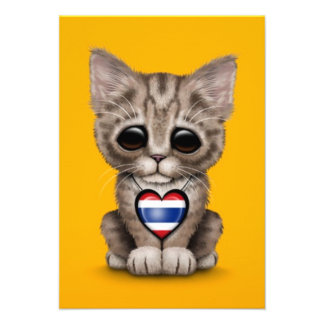 Cute Kitten Cat with Thai Flag Heart yellow Invitations
