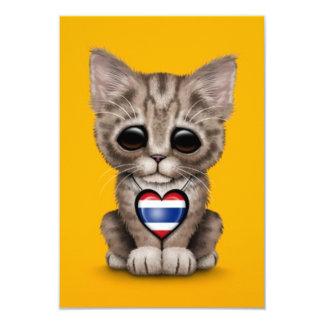 "Cute Kitten Cat with Thai Flag Heart, yellow 3.5"" X 5"" Invitation Card"