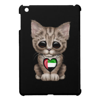 Cute Kitten Cat with UAE Flag Heart, black Cover For The iPad Mini