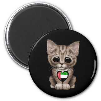 Cute Kitten Cat with UAE Flag Heart black Refrigerator Magnets