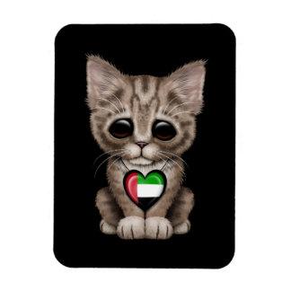 Cute Kitten Cat with UAE Flag Heart black Rectangular Magnets